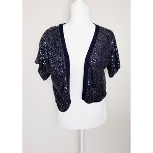 Abercrombie and Fitch Navy Sequin Shrug Large